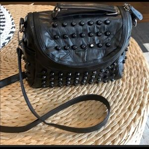 NWOT Black Faux Leather Studded Purse